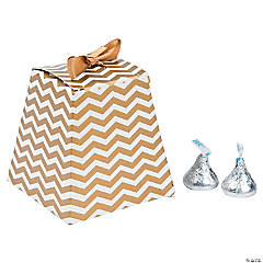 Cardboard Gold Chevron Tapered Wedding Favor Boxes