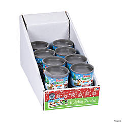 Cardboard Holiday Puzzles in Cans PDQ