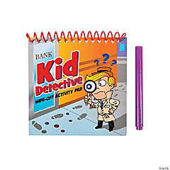 "Cardboard ""Kid Detective"" Wipe-Off Activity Pads"