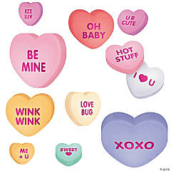 Cardboard Large Conversation Heart Valentine Cutouts