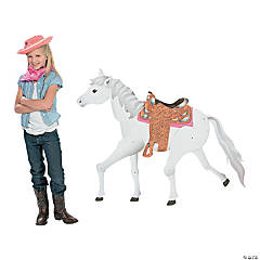 Cardboard Large White Horse Jointed Cutout
