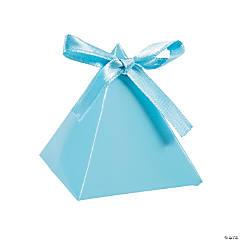 Cardboard Light Blue Triangle Favor Boxes