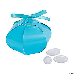 Cardboard Light Blue Wedding Sphere Favor Boxes