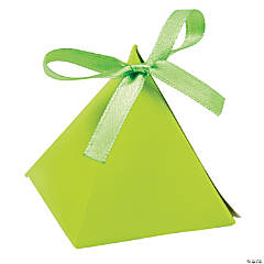 Cardboard Lime Green Triangle Favor Boxes