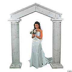 Cardboard Marble-Look Fluted Archway With Columns