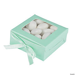 Cardboard Mint Green Favor Shadow Boxes