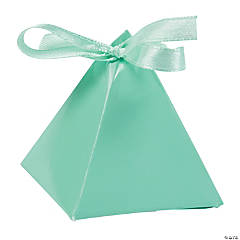 Cardboard Mint Green Triangle Favor Boxes