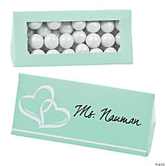 Cardboard Mint Green Wedding Place Card Favor Boxes