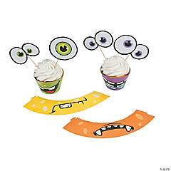 Cardboard Monster Cupcake Wrappers With Picks