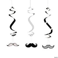 Cardboard Mustache Hanging Swirls