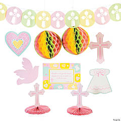 Cardboard Pink Sweet Christening Decorating Kit