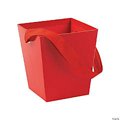 Cardboard Red Bucket with Ribbon Handle