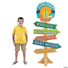 Cardboard Surf's Up Birthday Directional Sign
