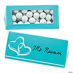 Cardboard Turquoise Wedding Place Card Favor Boxes