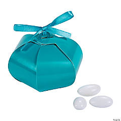 Cardboard Turquoise Wedding Sphere Favor Boxes