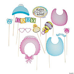 Cardstock Baby Shower Photo Stick Props
