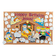 "Cardstock DIY ""Happy Birthday, Jesus"" Bulletin Board Set"