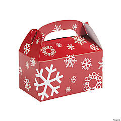 Cardstock Red And White Snowflake Treat Boxes