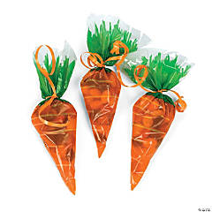 Carrot-Shaped Cellophane Goody Bags