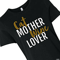 Cat Mother Wine Lover Women's T-Shirt - Large