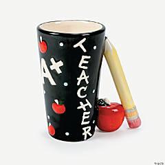 Ceramic Teacher Mug with Pencil Handle
