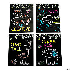 Chalkboard Safari Animal Pocket Folders