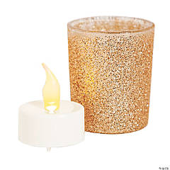 Champagne Glitter Glass Votive Candle Holders with Battery-Operated Tea Light Candles
