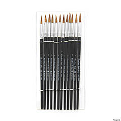 Charles Leonard® Water Color Paint Brushes, #7, Camel Hair, Black Handle, 72 count