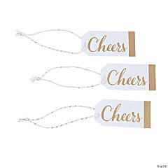 Cheers Gold & White Favor Tags