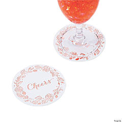 Cheers White with Rose Gold Coasters