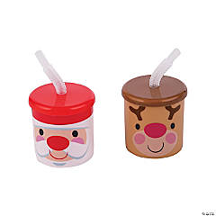 Cheery Christmas Cups with Lids & Straws