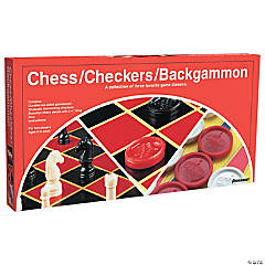 Chess, Checkers and Backgammon Board Game- 3 games per pack, Set of 2 packs