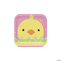 Chick & Bunny Easter Square Paper Dessert Plates