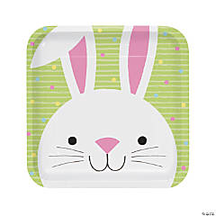 Chick & Bunny Easter Square Paper Dinner Plates - 8 Ct.