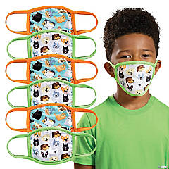 Child's Dogs & Cats Design Washable Face Masks - 6 Pc.