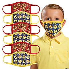 Child's Pizza & Emoji Washable Face Masks - 6 Pc.