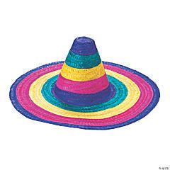 Child's Woven Straw Rainbow Sombreros