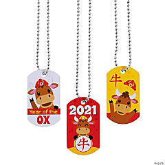 Chinese New Year of the Ox Dog Tag Necklaces