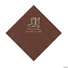 Chocolate Brown Cowboy Boots Personalized Napkins with Silver Foil - Luncheon