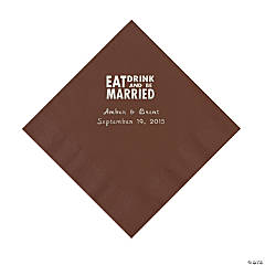 Chocolate Brown Eat, Drink And Be Married Napkins with Silver Foil - Luncheon