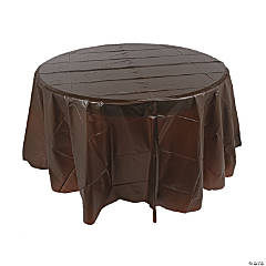 Chocolate Brown Round Plastic Tablecloth