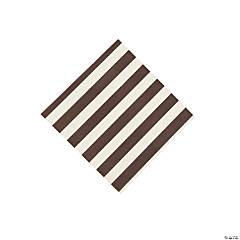 Chocolate Brown Striped Beverage Napkins