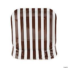 Chocolate Brown Striped Square Dessert Plates