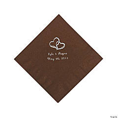 Chocolate Brown Two Hearts Personalized Napkins with Silver Foil - Luncheon