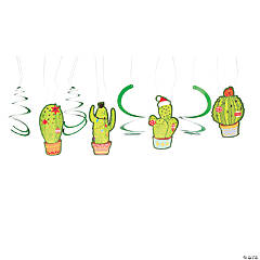 Christmas Cactus Hanging Swirl Decorations - 12 Pc.