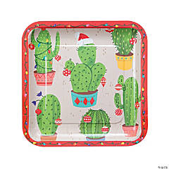 Christmas Cactus Square Paper Dinner Plates - 8 Ct.