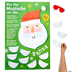 Christmas Crew Pin the Mustache on Santa Party Game