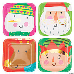 Christmas Crew Square Paper Dinner Plates - 8 Ct.