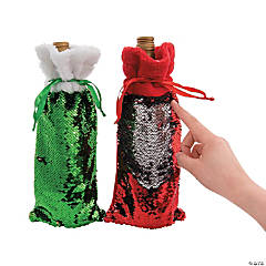 Christmas Flipping Sequins Wine Bags