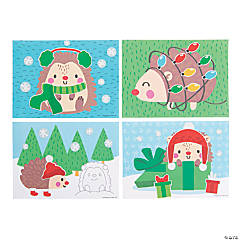 Christmas Hedgehog Sticker Scenes